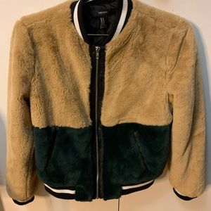 Color block fur jacket
